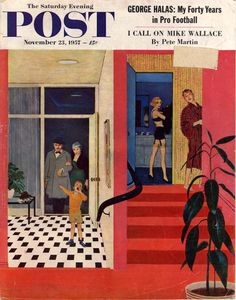 Early Guests. Saturday Evening Post, November 23, 1957 (George Hughes)
