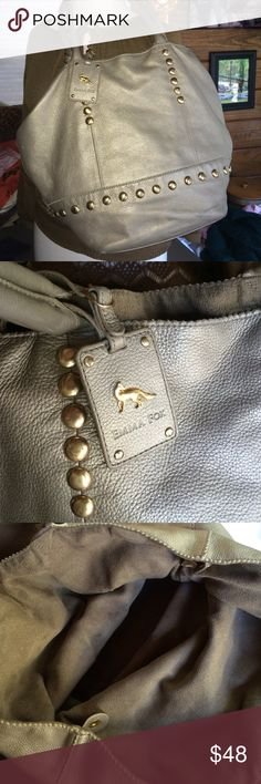 Emma Fox Extra large silver leather  brass studs Emma  Fox extra large silver leather shoulder handbag has removable center bag that you can use as a large wristlet. Brass studs all over bag. Hangtag comes with bag. Overall very good pre-loved condition a few spots here and there but no major flaws Emma Fox Bags Shoulder Bags
