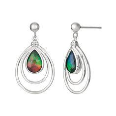Stunning handmade Ammolite Gemstone Sterling Silver Earrings