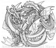 Dragon Dance 03 bw by rachaelm5 on DeviantArt