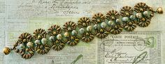 """Linda's Crafty Inspirations: Pattern Review: Farfalle Bracelet 11/0 seed beads Toho """"Metallic Olive Brown"""" (11-457H) SuperDuo beads """"Opaque Olive Copper Picasso"""" 6mm round """"Crazy Moss Agate"""" stone beads 4mm corrugated brass beads"""
