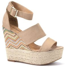 Nude Aztec Espadrille Wedges ($39) ❤ liked on Polyvore featuring shoes, sandals, wedges, light brown, wedge sandals, nude wedge sandal, ankle tie wedge sandals, woven wedge sandals and ankle wrap wedge sandals