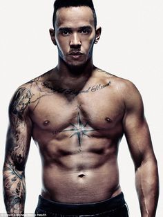 Special meaning: Lewis Hamilton, currently single following a difficult split from long-term girlfriend Nicole Scherzinger, revealed his devotion to those closest to him is reflected in the numerous tattoos etched across his body