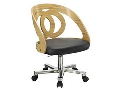 Jual PC606 Retro Vintage Style Curve Oak Office Chair  Decorate your work area with the PC606 retro vintage style curve oak office chair from Jual Furnishings. Perfect for working from home, this classy executive chair is designed to keep you comfortable while you get down to some serious business.  Plus, the retro vintage style, sophisticated leather and natural real walnut wood veneer all work together beautifully to give your home office a fresh look.