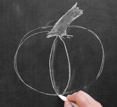 How to Draw a Chalk Pumpkin - Lily & Val Living Valerie McKeehan breaks down the steps for drawing a chalk art pumpkin Fall Chalkboard Art, Thanksgiving Chalkboard, Chalkboard Doodles, Chalkboard Art Quotes, Blackboard Art, Chalkboard Drawings, Chalkboard Lettering, Chalkboard Designs, Chalk Drawings