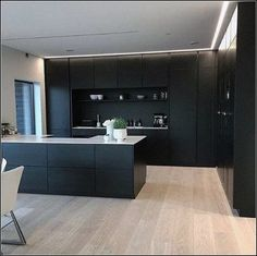 Modern Kitchen Design – Want to refurbish or redo your kitchen? As part of a modern kitchen renovation or remodeling, know that there are a . Black Kitchen Cabinets, Kitchen Cabinet Design, Painting Kitchen Cabinets, Black Kitchens, Kitchen Paint, New Kitchen, Kitchen Decor, Kitchen Black, Wood Cabinets