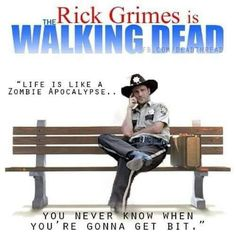 """The Walking Dead-- """"Life is like a zombie apocalypse.you never know when you're gonna get bit. Walking Dead Tv Show, Walking Dead Funny, Fear The Walking Dead, Zombie News, Best Zombie, Rick Grimes, Zombie Apocalypse, Forrest Gump, Funny Stuff"""