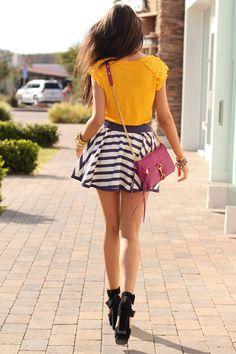 Stripe skirt, yellow top