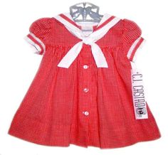 NEW C. I. Castro Red Checked Sailor Dress for Toddler Girls $50.00