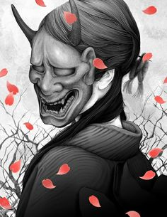 Hannya- Japanese myth: masks that represent the spirit of a vengeful woman. It had two horns, sharp fangs, and a contorted expression that captures the complexity of human emotions.