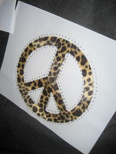 Peace Sign Heat Transfer in Brown Leopard Print with by cthorses66, $8.00