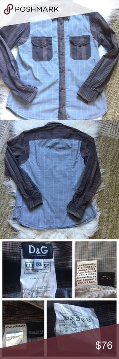 """Dolce & Gabbana two color button-down shirt Dolce & Gabbana two color button-down shirt.  Great quality and style. Blue, cream, and brown tones, metal tone buttons, two front pockets. Made in Italy.  Size XXL. Approximate measurements 24.5"""" sleeves, 21"""" armpit to armpit, 29"""" length.  EUC. Dolce & Gabbana Shirts Dress Shirts"""
