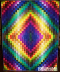 Busy Hands Quilts: Rainbow Trip Around the World Throw Quilt