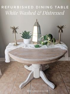 Steo by step instructions on how I created a white washed/cerused top and distressed chalk paint base! Distressed Kitchen Tables, Painted Kitchen Tables, Refinishing Kitchen Tables, Kitchen Table Redo, Round Kitchen, White Wash Table, White Dining Table, Rustic Round Dining Table, White Tables