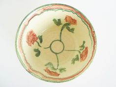 "10% Off! - Discount Code ""Sale2015"" - Vintage Pink and Green Flowers Art Pottery Bowl from LeVieuxSalon hand thrown handthrown vintage ceramics vintage pottery large bowl ceramic bowl pottery bowl mixing bowl salad bowl pastels pink and green flowers bowman"