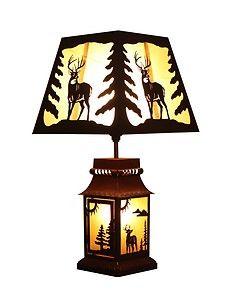 "Deer Tin 20"" Table Lamp Rustic Cabin Decor 4003"