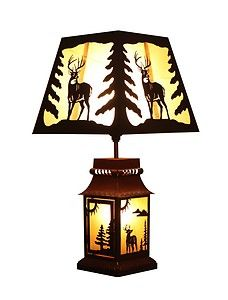 "Deer Tin 20"" Table Lamp Rustic Cabin Decor 4003"