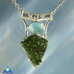 Amazing Aquamarine & Moldavite Silver by ArkadianCollection