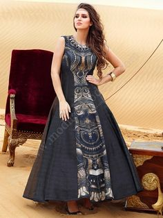 Buy Appealing Black Grey Silk Readymade Partywear Anarkali Suit online in India at best price.You must dare to be different; coz styling is always to be exclusive. Designer Gowns, Indian Designer Wear, Kurta Designs, Blouse Designs, Indian Dresses, Indian Outfits, Indian Attire, Cotton Dresses, Dress Patterns