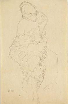 "Gustav Klimt - igura femminile seduta (Auf einem Hocker Sitzende von vorne), 1914-16 - Mart, Collezione L.F. - ""La Magnifica Ossessione"" www.mart.tn.it/magnificaossessione"