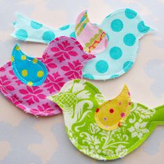 Fabric Bird Appliques. sure I'd love a bunch of these too!
