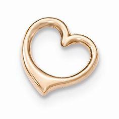 14K Rose Gold 3-D Floating Heart Chain Slide