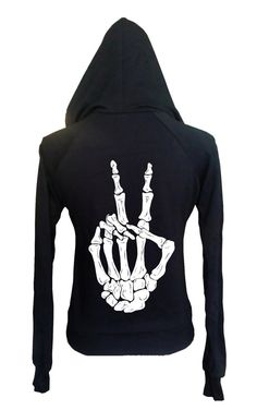 Halloween Fashion Clothing Womens Boho Gypsy SKELETON PEACE Sign Hand Vintage Halloween Retro Hoodie Sweatshirt Cotton Fleece American Apparel Made in USA  xs, s, m, l