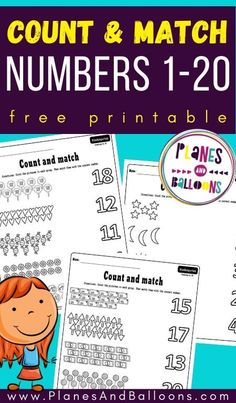 Counting worksheets free printable for kindergarten - counting numbers 1-20. #kindergarten #math #planesandballoons Learning Numbers Preschool, Kindergarten Math Activities, Fun Math Games, Counting Activities, Preschool Printables, Fun Learning, Elementary Math, Planes, Remote