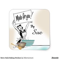 Retro Style Baking Stickers