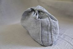 "linge particulier - s linen bag : 13"" x 19"" - striped grey / anthracite / white -"