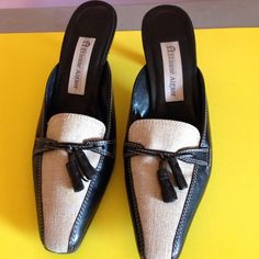 Shoes Black and linen shoes made in Brazil the heels are 2 1/2 inches high Etienne Aigner Shoes Mules & Clogs