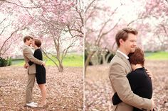 Engagement photos in Spring flowers