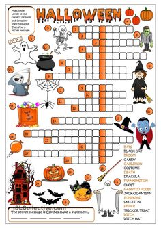 An exercise to practise Halloween vocabulary. Students have to match the words to the correct pictures and complete the crossword. Then find a secret message. Greyscale version and KEY included. Theme Halloween, Halloween Games, Halloween Activities, Holiday Activities, Holidays Halloween, Halloween Crafts, Halloween Ideas, Halloween Vocabulary, Halloween Stuff
