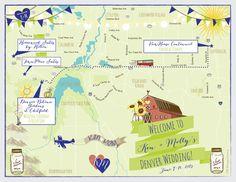 Rustic Theme Wedding Map of Boulder Colorado by cwdesigns2010