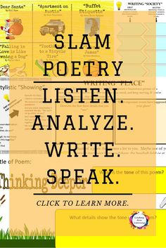 Something for everyone who is interested in teaching spoken word poetry (slam poetry).  Teach students to appreciate, analyze, write, and perform their own slam poetry. Build writing, reading, speaking and listening, and meta-cognitive skills with these digital and print resources.   Be sure to check out the slam poetry mega bundle! $  https://www.teacherspayteachers.com/Product/Slam-Poetry-MEGA-Bundle-for-Google-Classroom-OneDrive-and-Print-3043884