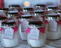 "Fun favors at a Gray and Pink ""Sprinkled with Love"" Baby shower!  See more party ideas at CatchMyParty.com!  #partyideas #babyshower"