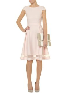 Pink sheer insert midi dress - Dorothy Perkins Yes! A thousand times yes! The faux hemline is a great detail. Modest Dresses, Pretty Dresses, Beautiful Dresses, Short Dresses, Dresses For Work, Summer Dresses, Look Fashion, Fashion Outfits, Womens Fashion