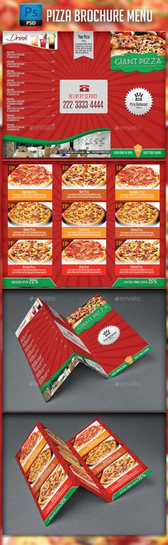 Pizza Menu Design. A4 Size And Flyer Layout Template. Restaurant