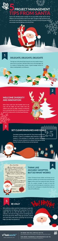 5 Project Management Tips From Santa Infographic - http://elearninginfographics.com/5-project-management-tips-santa-infographic/