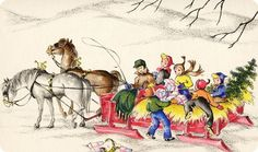 Thanksgiving Clip Art and A Thanksgiving Poem: Over The River And Through The Woods Vintage Greeting Cards, Vintage Christmas Cards, Vintage Holiday, Yule, Thanksgiving Poems, Christmas Past, Christmas Horses, Christmas Specials, Christmas Artwork