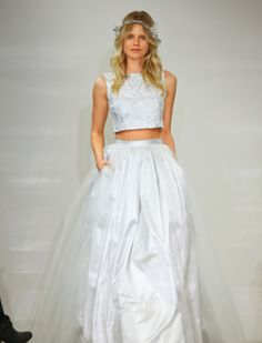 Two-piece wedding dress with hint of blue : silver