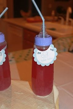 Funny idea for serving drinks at a baby shower