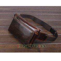 Men Oil Wax Genuine Leather Cowhide Vintage Cell/Mobile Phone Hip Bum Belt Pouch Fanny Pack Waist Purse Bag