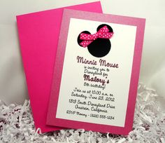 Minnie Mouse Invitations - Handmade Velvet Double Layer - 10