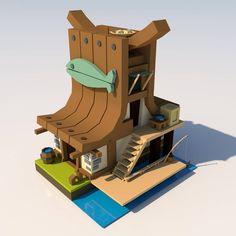 Little fishing house. Based on Léonie Boullard's concept. #3d #concept #conceptart #game #fishing #house #fantasy #3dmodeling #design #smallhouse