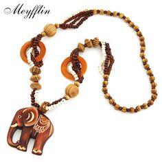 Thời trang Bohemian Vintage Tộc Gỗ Elephant Dài Áo Len Chain Dây Chuyền & Mặt Dây đối với Phụ Nữ Statement Necklace Jewelry 2017