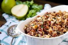 Cranberry Pear Spinach Rice Pilaf Recipe - A tasty rice recipe that makes a beautiful holiday side dish or an easy dinner idea if you just add chicken! Holiday Side Dishes, Best Side Dishes, Thanksgiving Side Dishes, Tasty Rice Recipes, Cooking Recipes, Best Scone Recipe, Blueberry Scones Recipe, Rice Pilaf Recipe, Spinach Rice
