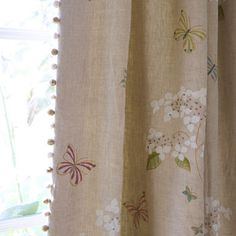 hydrangeas & butterflies on linen - susie watson fabric Hand Printed Fabric, Printed Linen, Susie Watson, Curtains With Blinds, Lounge Curtains, Roman Blinds, Faux Wood Blinds, Cottage Living Rooms, Made To Measure Curtains