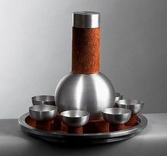 One of the few Russel Wright spun aluminum pieces I have yet to acquire- the cocktail shaker set.