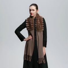 F118-Knitted patchwork black/gray/beige/brown natural rex rabbit fur  scarf women autumn winter wool fur muffler